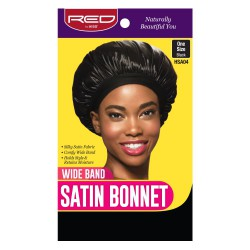 Wide band satin bonnet - Black